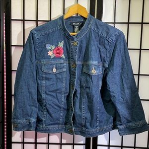 Denim & Co Embroidered Jeans Jacket Size L